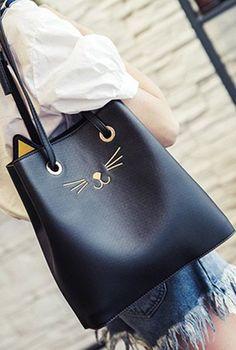 Drawstring Cat Pattern PU Leather Shoulder Bag