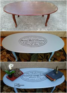 Easy Image Transfer on a coffee table. Who knew it was this easy to transfer images? #repurposed #furniture #diy #image #transfer