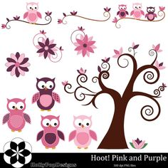 Hoot Pink and Purple Polka Dots Owl Clip Art by HollyPopDesigns, $5.00