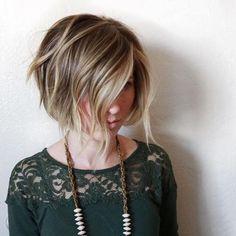 Short asymmetrical bobs hairstyle haircut 80