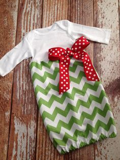 Christmas Newborn Layette, Infant Gown, Baby Gown - Girl - Green Chevron - Christmas - Holiday on Etsy, $24.00