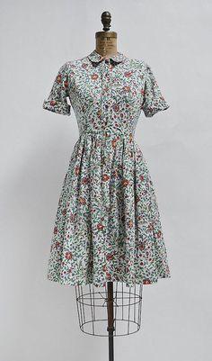 Les Jardins Dress / vintage floral dress / vintage cotton day dress