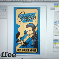 Suave Coffee Poster WIP. Work in progress (Freehand MX)
