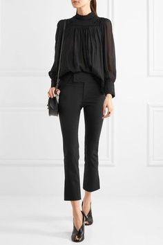 Isabel Marant - Ovida Cropped Stretch Cotton-blend Skinny Pants - Black - FR
