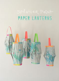 Paper lantern made with splattered liquid watercolors