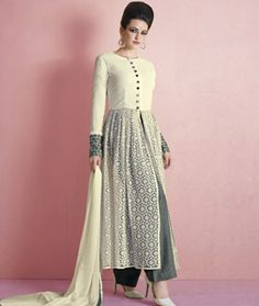 Buy Off White Net Palazzo Style Suit 72750 online at lowest price from huge collection of salwar kameez at Indianclothstore.com.