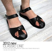Male sandals british style gladiator male sandals leather sandals Men toe cap covering single shoes(China (Mainland))