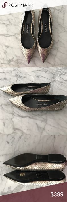 Tom Ford Pointed Blush Metallic Flats NEW Brand new tom ford snake skin Flats blush gold Tom Ford Shoes Flats & Loafers