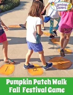 Cake walk - cakes are donated, can be homemade or store. Cakes, pies, cookies and other sweet treats Fall Festival Game - Pumpkin Patch Walk! Easy and a favorite Harvest game for all ages! Harvest Party Games, Harvest Festival Crafts, Fall Harvest Party, Autumn Harvest, Fall Carnival Games, Fall Games, Halloween Carnival, Holiday Games, Halloween Party