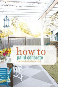 how to paint a concrete slab patio via The Handmade Home featured at DIY Saturday at A Cultivated Nest