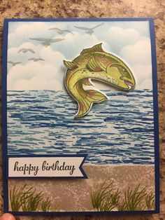 Best Catch and High Tide Stamp Sets on this leaping fish masculine card Masculine Birthday Cards, Birthday Cards For Men, Man Birthday, Masculine Cards, Hand Made Greeting Cards, Making Greeting Cards, Nautical Cards, Beach Cards, Retirement Cards