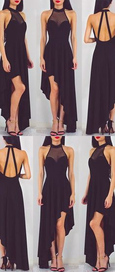 Sexy High-low Black Long Chiffon Prom Dress Homecoming Dress #RosyProm #promdress #promgown #longpromdress #simplepromgown #charmingpartydress #eleganteveningdress #promdress #blackpromgown