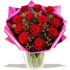 Romeo 12 Red Roses bouquet of flowers www.eden4flowers.co.uk Red Rose Bouquet, Gifts Delivered, Flowers Delivered, Red Roses, Bouquets, Valentines Day, Floral, Handmade, Valentine's Day Diy