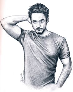 Marvel by James-Hadaway on DeviantArt Pencil Drawings Of Love, Cute Drawings, Iron Man Drawing, Drawing Art, Drawing Ideas, Avengers Drawings, Robert Downey Jr., Celebrity Drawings, Wow Art