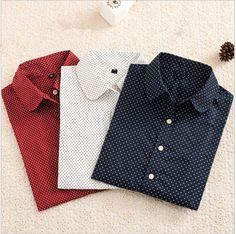 Hot New Women Blouses Long Sleeve Shirt Polka Dot Blusas Femininas 2015 Cotton Shirt Red Women Tops Camisas Femininas Tops-in Blouses & Shirts from Women's Clothing & Accessories on Aliexpress.com | Alibaba Group