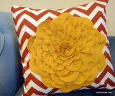 Mustard Yellow Bloom Felted Wool Flower on Rust by littlehousefrau, $40.00