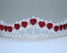 Beautiful Red Hearts and Crystal Tiara by on Etsy Diy Tiara, Birthday Tiara, Princess Tiara, Red Candy, Diy Hair Accessories, Plastic Beads, Fairy Dolls, Tiaras And Crowns, Beads And Wire