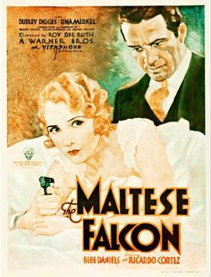 Poster for the first The Maltese Falcon, Warner Bros., 1931.