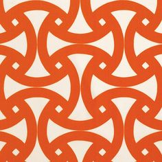 Santorini Print | 174301 in Persimmon | Schumacher Fabric by Trina Turk |  An exuberant pattern of interlocking curves, Santorini has a bold flair. The graphic geometric is printed on acrylic making it a durable option for both indoor and outdoor use.