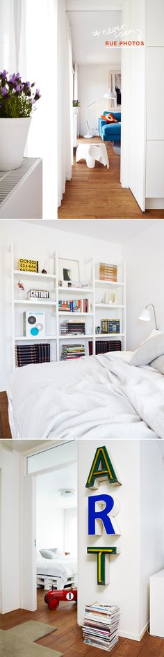 i like the center picture. nice, clean shelving for the bedroom