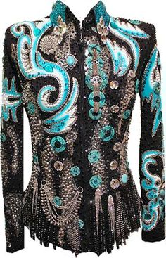Black, teal, and silver jacket by Trudy, so pretty but $4595 is a bit outta my range