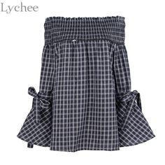 Lychee Sexy Summer Women Blouse Slash Neck Flare Sleeve Off Shoulder Plaid Casual Shirt Tops #Affiliate
