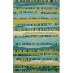 Found it at Wayfair - Shelburne Mosaic Blue Stripe Area Rug