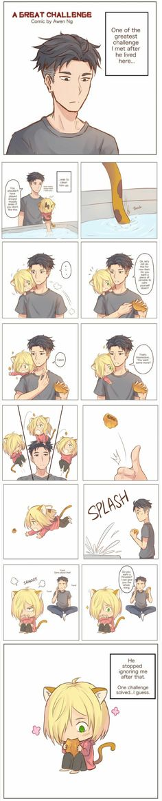 Otabek and grumpy cat Yurio  4/5 (Original fan art is taken from:  awen-ng.tumblr.com)