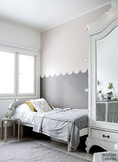 I love the shabby wardrobe with mirrors!
