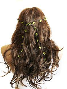 crochet Headpiece Headband Hair Piece green beaded Wedding Bridal Hair Accessory, wedding Boho Headband, Bohemian  for Women