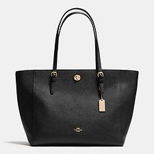 Show details for TURNLOCK TOTE IN CROSSGRAIN LEATHER