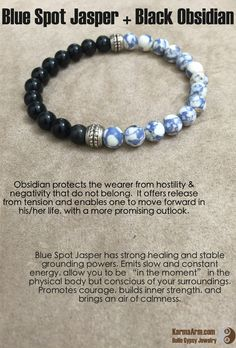 Blue Spot Jasper has strong healing and stable grounding powers. Emits slow and… Chakra Crystals, Crystals And Gemstones, Stones And Crystals, Healing Crystals, Healing Bracelets, Gemstone Bracelets, Chakra Bracelet, Yoga Bracelet, Spiritual Jewelry