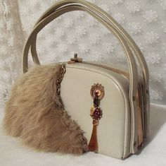 White Leather Purse, Haute Couture Handbag, Vintage fox fur and vintage jewelry adorned, Designer Bag, La Marelle Couture, RESERVED for Show