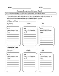 Character Analysis Character Worksheet  School