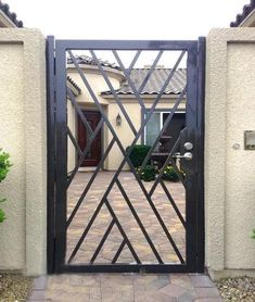 Wrought iron doors are indeed a style from the past. With creativity, you can make your house look more sophisticated with the wrought iron front doors. Steel Gate Design, Iron Gate Design, Metal Gates, Wrought Iron Doors, Metal Screen, Metal Garden Gates, Garden Doors, Grill Gate, Door Grill