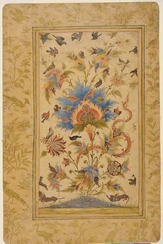"A Floral Fantasy, first half of the 17th century. Islamic. Gursharan and Elvira Sidhu Collection, Seattle | This work is featured in our "" Sultans of Deccan India, 1500–1700: Opulence and Fantasy"" exhibition, on view through July 26, 2015. #DeccanSultans"