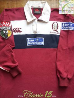 Relive Queensland Reds' Super 12 season with this vintage Canterbury home long sleeve rugby shirt. Canterbury Crusaders, Vintage Rugby Shirts, Rugby Kit, Long Sleeve Rugby Shirts, White Trim, Colorful Shirts, Retro Vintage, Polo Ralph Lauren, Store