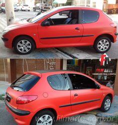 Peugeot 206 envelopado com adesivo vermelho fosco. / Estamos em novo endereço! / Rua Dona Matilde, 94 - Vila Matilde / Tel: 11 2651-0113 / #envelopamento #envelopamentozonaleste #envelopamentoautomotivo #peugeot206 #peugeot #fosco #carros #vilamatilde #011 #filmarte #wrap #fibradecarbono #saopaulo #sp #brazil