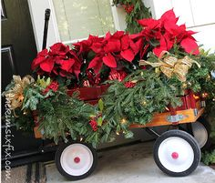 A little red wagon, fresh and faux greens accented with gold ribbons make this front porch a little traditional and a little fun. Christmas Porch, Gold Christmas, Country Christmas, Christmas Holidays, Christmas Wreaths, Natal Country, Decoration Entree, Silver Christmas Decorations, Little Red Wagon