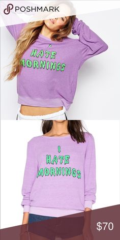 Wildfox Couture Purple I Hate Mornings NWT Super soft beach baggy jumper from Wildfox New with tags Wildfox Couture Tops Sweatshirts & Hoodies