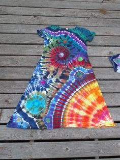 Suraya Spiral Playdress by Pieceful Worlds Clothing . Hand dyed tie dye Galaxy / Space dress .