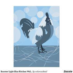 Rooster Light Blue Kitchen Wall Art - Poster