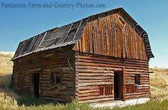 Log cabin barn.