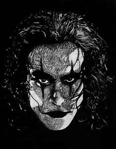 This is a close up view I did of Brandon Lee as The Crow in scratchboard. The Crow Grey Ink Tattoos, Body Art Tattoos, Crow Tattoos, Phoenix Tattoos, Ear Tattoos, Power Rangers, Dark Fantasy, Fantasy Art, Crow Images