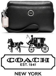 """Coach's """"Poppy Leather Double Zip Wristlet"""" in Black/Silver, retails at $68. The soft sheen of Italian waxed calfskin adds sophistication and luxury to a well-organized design with two zippered sections, one sized to hold a phone, the other filled with billfolds and card pockets."""