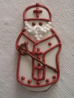Ukrainian St. Nicholas gingerbread cookie, by Lada Onyshkevych, made using  Ukrainian St. Nicholas cookie cutter from stnicholascenter.org. Ukrainian St. Nicholas - Mykolai - has a rounded instead of pointy mitre.