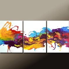 """3pc Abstract Canvas Art Painting 54"""" Original Contemporary Triptych Paintings by Destiny Womack - dWo - The River of Dreams"""
