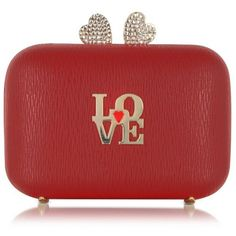 Love Moschino Red Eco Leather Clutch w/Chain Strap ($225) ❤ liked on Polyvore featuring bags, handbags, clutches, evening clutches, chain strap purse, red handbags, evening purses and faux-leather handbags