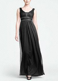 (Black, red, purple...)  Sleeveless bodice features flattering empire waist with double banded sparkling beaded detail.  Long mesh fabric gives this dress a whimsical and airy feel.  Fully lined. Back zip. Imported polyester. Dry clean.