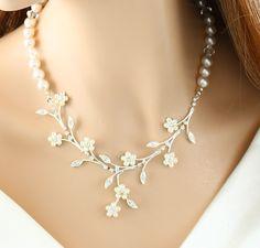 Crystal Pearl Wedding Bridal Crystal Necklace. $58.00, via Etsy.